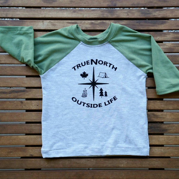 True North handmade infant raglan baseball tee
