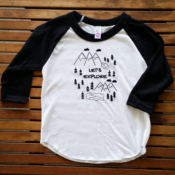 Let's Explore kids' raglan baseball tee