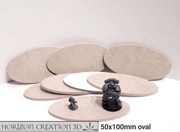 Bases MDF 8 pack 50x100mm Oval Beveled Edge