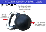 Kobo 22 Kg Kettlebell Cast Iron Rubber Coated With Chrome Handle (IMPORTED)