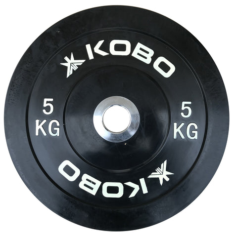 Kobo 5 Kg (51 mm) Bumper Plates Competition Level Olympic Barbell Bar Weight Plate with Machined Steel Collar Elite (Imported) - Sold in Pairs (5 Kg x 2 = 10 Kg)
