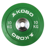 Kobo 10 Kg (51 mm) Bumper Plates Competition Level Olympic Barbell Bar Weight Plate with Machined Steel Collar Elite (Imported) - Sold in Pairs (10 Kg x 2 = 20 Kg)