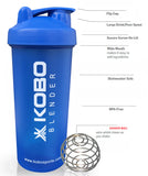 Kobo Shaker Sipper Bottle 600 ML With Blender Ball (Blue)