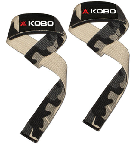 Kobo Power Gym Training Padded Straps / Weight Lifting Hand Bar