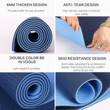 Kobo 6 mm Yoga Exercise Fitness Workout Non Slip Mat 180cm x 60cm x 0.6cm - 6mm Thick Dual Tone Sticky Mat