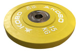 Kobo 15 Kg (51 mm) Bumper Plates Competition Level Olympic Barbell Bar Weight Plate with Machined Steel Collar Elite (Imported) - Sold in Pairs (15 Kg x 2 = 30 Kg)