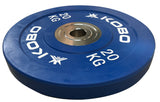 Kobo 20 Kg (51 mm) Bumper Plates Competition Level Olympic Barbell Bar Weight Plate with Machined Steel Collar Elite (Imported) - Sold in Pairs (20 Kg x 2 = 40 Kg)