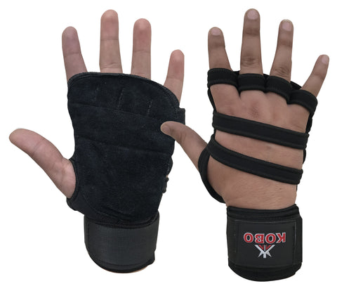 Kobo Weight Training and Exercise Gym Glove With Long Wrist Support