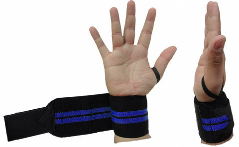Kobo Power Wrist Support Weight Lifting Training Gym Straps With Thumb Support(Black/Blue)