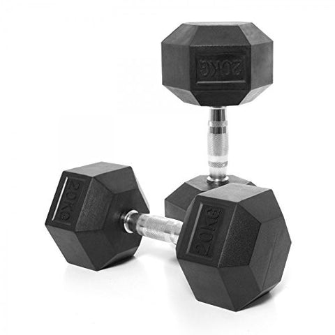 Kobo IMPORTED HOME GYM EXERCISE  TRAINING FITNESS GRIPPY HEX RUBBER DUMBBELL (Pair)