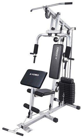 Kobo MHG-1003 Steel Home Gym with Weight Plates (Grey)