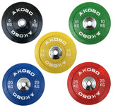 Kobo 25 Kg (51 mm) Bumper Plates Competition Level Olympic Barbell Bar Weight Plate with Machined Steel Collar Elite (Imported) - Sold in Pairs (25 Kg x 2 = 50 Kg)