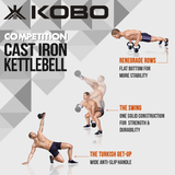Kobo Cast Iron Kettlebells for Strength and Conditioning, Fitness, and Cross-Training - LB and KG Markings (20 Kg)