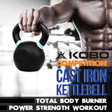 Kobo Cast Iron Kettlebells for Strength and Conditioning, Fitness, and Cross-Training - LB and KG Markings (12 Kg)