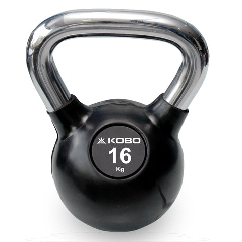Kobo 16 Kg Kettlebell Cast Iron Rubber Coated With Chrome Handle (IMPORTED)
