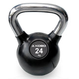 Kobo 24 Kg Kettlebell Cast Iron Rubber Coated With Chrome Handle (IMPORTED)