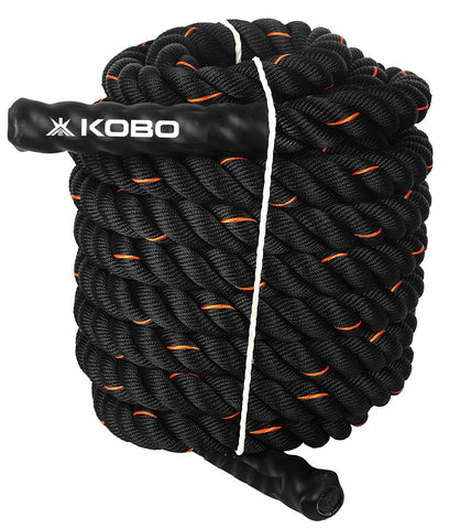"Kobo CTA-01 Black 1.5"" Width Poly Dacron 50ft (15 Meter) Length Battle Rope Workout Training Undulation Rope Fitness Rope Exercise (Imported)"