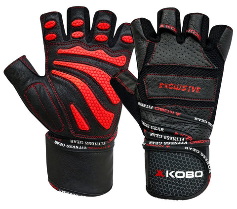 Kobo WTG-13 Professional Leather Gym Gloves For Fitness / Functional Training Hand Protector Top Quality