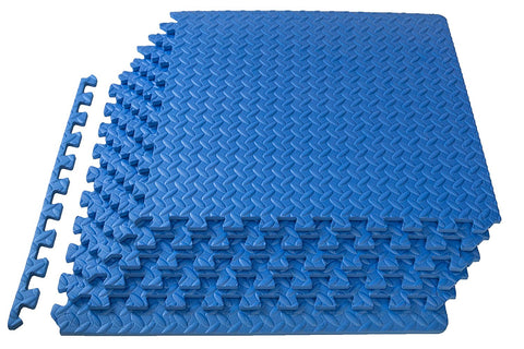 Kobo Puzzle Exercise Mat, EVA Interlocking Tiles, Protective Flooring for Gym (6 Feet x 4 Feet) Blue