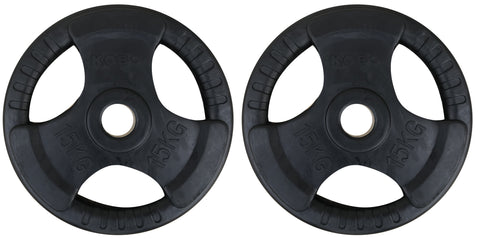 Kobo 15 Kg (31 mm) Fitness Premium Quality Rubber Coated Tri-grip Plate & Integrated Metal Grip Rubber Weight Plates - Sold in Pairs (15 Kg x 2 = 30 Kg) (Imported)