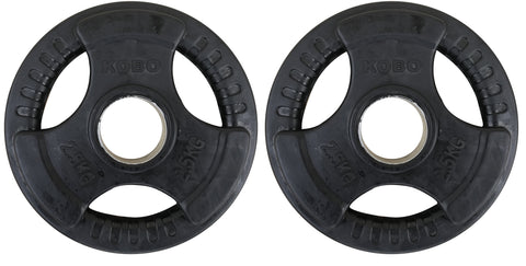Kobo 2.5 Kg (51 mm) Olympic Barbell Fitness Premium Quality Rubber Coated Tri-grip Olympic Plate & Integrated Metal Grip Rubber Weight Plates - Sold in Pairs (2.5 Kg x 2 = 5 Kg) (Imported)