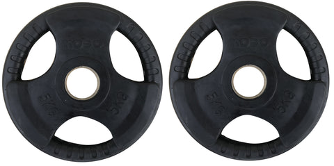Kobo 5 Kg (51 mm) Olympic Barbell Fitness Premium Quality Rubber Coated Tri-grip Olympic Plate & Integrated Metal Grip Rubber Weight Plates - Sold in Pairs (5 Kg x 2 = 10 Kg) (Imported)