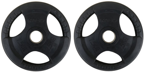 Kobo 10 Kg (51 mm) Olympic Barbell Fitness Premium Quality Rubber Coated Tri-grip Olympic Plate & Integrated Metal Grip Rubber Weight Plates - Sold in Pairs (10 Kg x 2 = 20 Kg) (Imported)