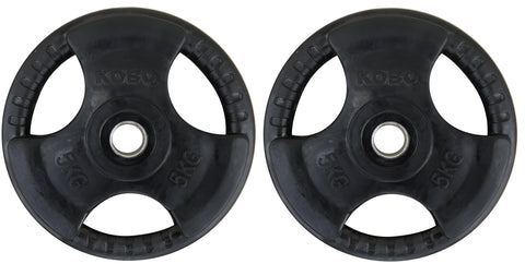 Kobo 5 Kg (31 mm) Fitness Premium Quality Rubber Coated Tri-grip Plate & Integrated Metal Grip Rubber Weight Plates - Sold in Pairs (5 Kg x 2 = 10 Kg)(Imported)
