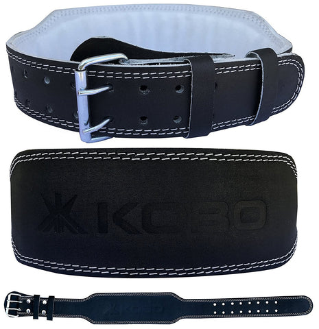 "Kobo 4"" Leather Weight Lifting Belt Back Gym Strap Training Support Fitness Exercise Bodybuilding"