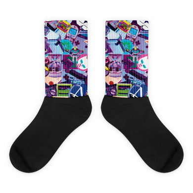 90s Tech Boom Black foot socks
