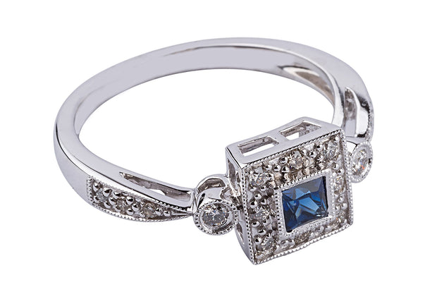 14k White Gold Square Cut Blue Sapphire And Diamond Ring - Aatlo Jewelry Gallery