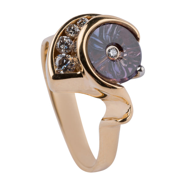 Gordon Aatlo & Glenn Lehrer Collaboration: Purple Sapphire & Diamond TorusRing - Aatlo Jewelry Gallery
