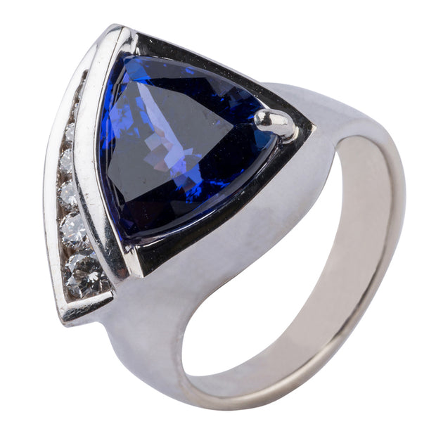 Gordon Aatlo Designs Legacy Collection: 18k White Gold Tanzanite & Diamond Ring - Aatlo Jewelry Gallery
