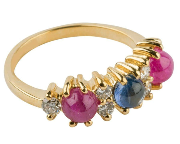 Gordon Aatlo Designs 18k Yellow Gold Sapphire and Diamond Cabochon Ring