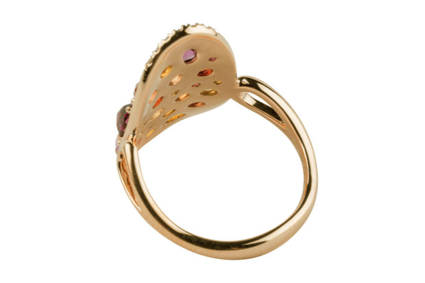 14K Rose Gold Multi Sapphire and Diamond Ring - Aatlo Jewelry Gallery