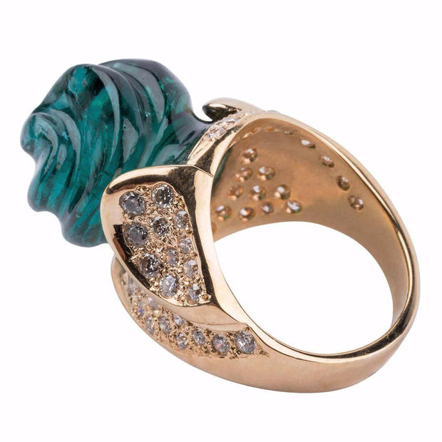 Gordon Aatlo Legacy Collection 18k Indicolite Rococo Cut Tourmaline & Diamond Ring - Aatlo Jewelry Gallery