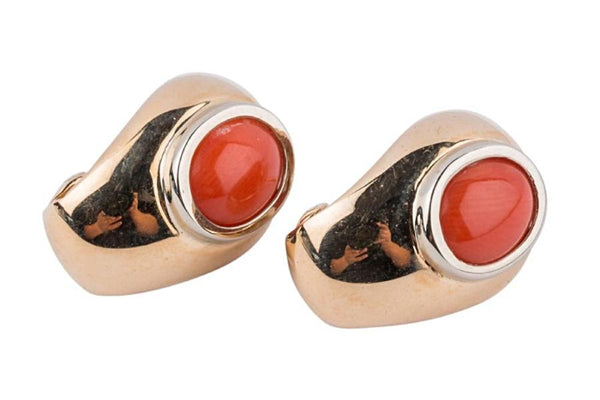 Italian Coral 18k Yellow And White Gold Earrings