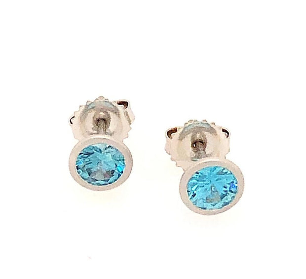 18k White Gold Blue Zircon Earrings - Aatlo Jewelry Gallery