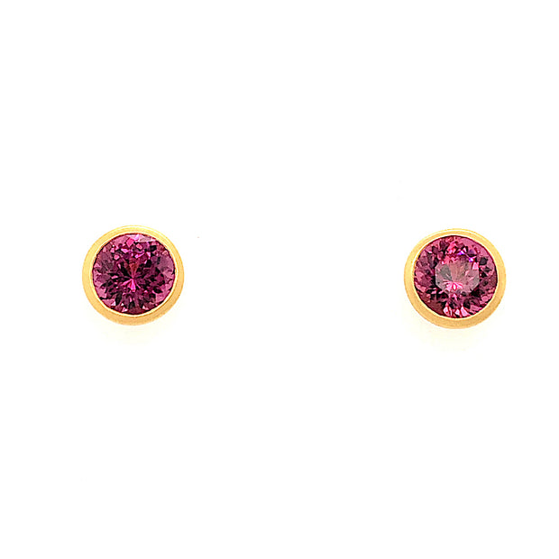 18k Yellow Gold Rhodolite Garnet Stud Earrings - Aatlo Jewelry Gallery