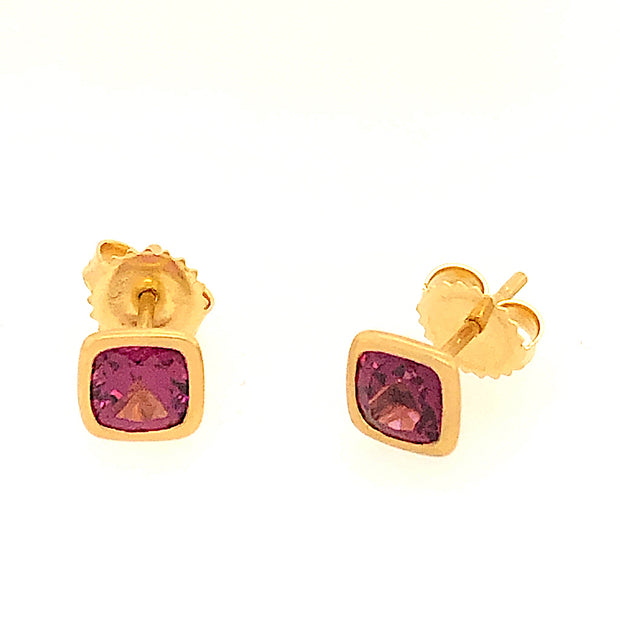 18k Yellow Gold Square Cut Rhodolite Stud Earrings - Aatlo Jewelry Gallery
