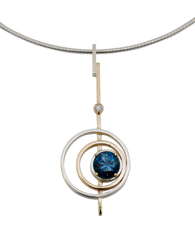 Gordon Aatlo Designs: 14k Yellow Gold and Sterling Silver Blue Zircon & Diamond Pendant - Aatlo Jewelry Gallery