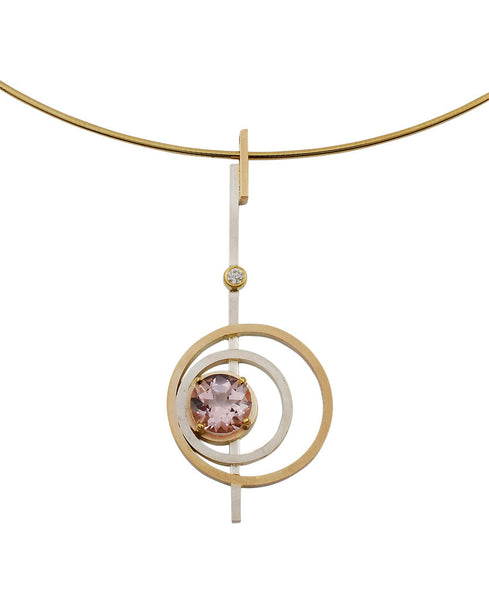 14k yellow gold and sterling silver morganite pendant Gordon Aatlo Designs