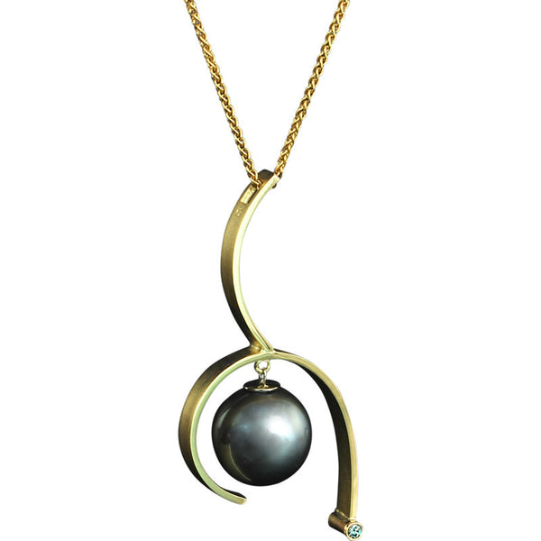 Gordon Aatlo Tahitian Pearl and Diamond Pendant - Legacy Collection
