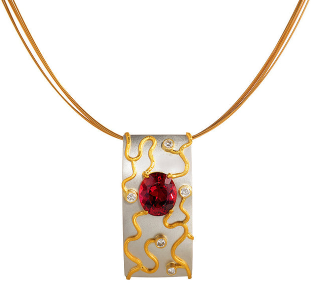 Gordon Aatlo Legacy Collection: Rubelite & Diamond Pendant - Platinum, 24k & 18k - Aatlo Jewelry Gallery