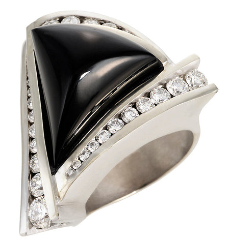 Gordon Aatlo Legacy Collection: Black Jade and Diamond Ring - Aatlo Jewelry Gallery