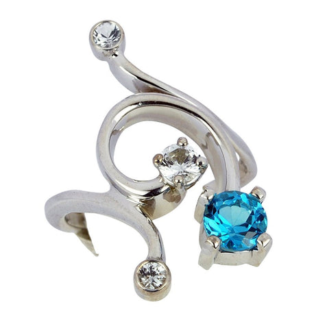 Gordon Aatlo Designs Sterling Silver Blue Topaz and White Sapphire Ring - Aatlo Jewelry Gallery