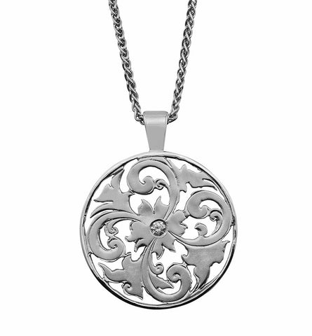 Gordon Aatlo Designs: Large 14k White Gold and Diamond Genoa Pendant - Aatlo Jewelry Gallery