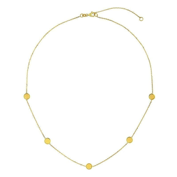 14k Yellow Gold Round Disc Necklace