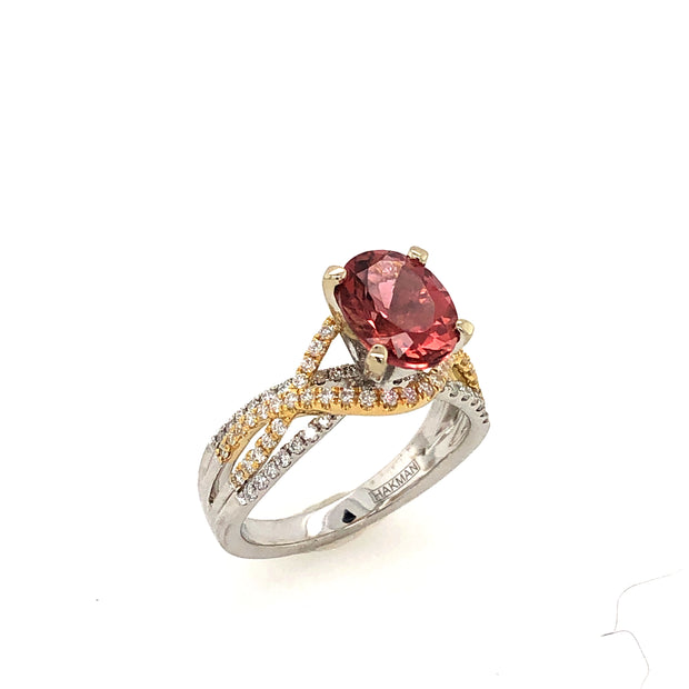 18k White and Yellow Gold Pink Tourmaline Ring