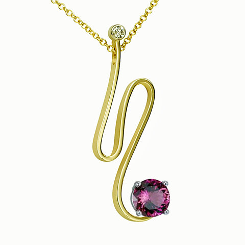 Gordon Aatlo Designs 14k Pink Tourmaline and Diamond Pendant - Aatlo Jewelry Gallery